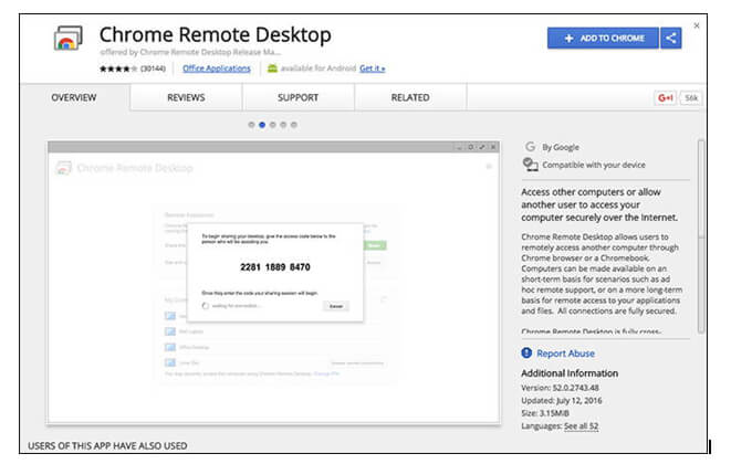 Chrome remote desktop on a windows