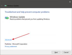 Running Windows Update Troubleshooter
