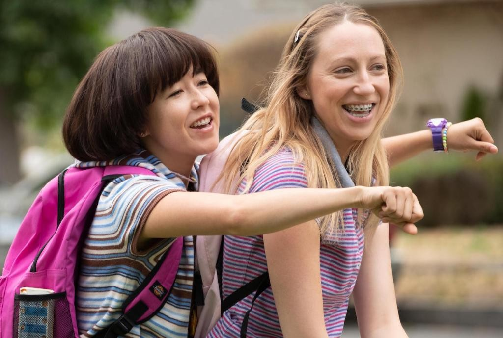 """PEN15 -- """"Ojican"""" - Episode 103 - Maya feels a tickle down there which becomes kind of an addiction, distracting her from her best friend who really needs her. Maya (Maya Erskine) and Anna (Anna Konkle), shown. (Photo by: Alex Lombardi/Hulu)"""