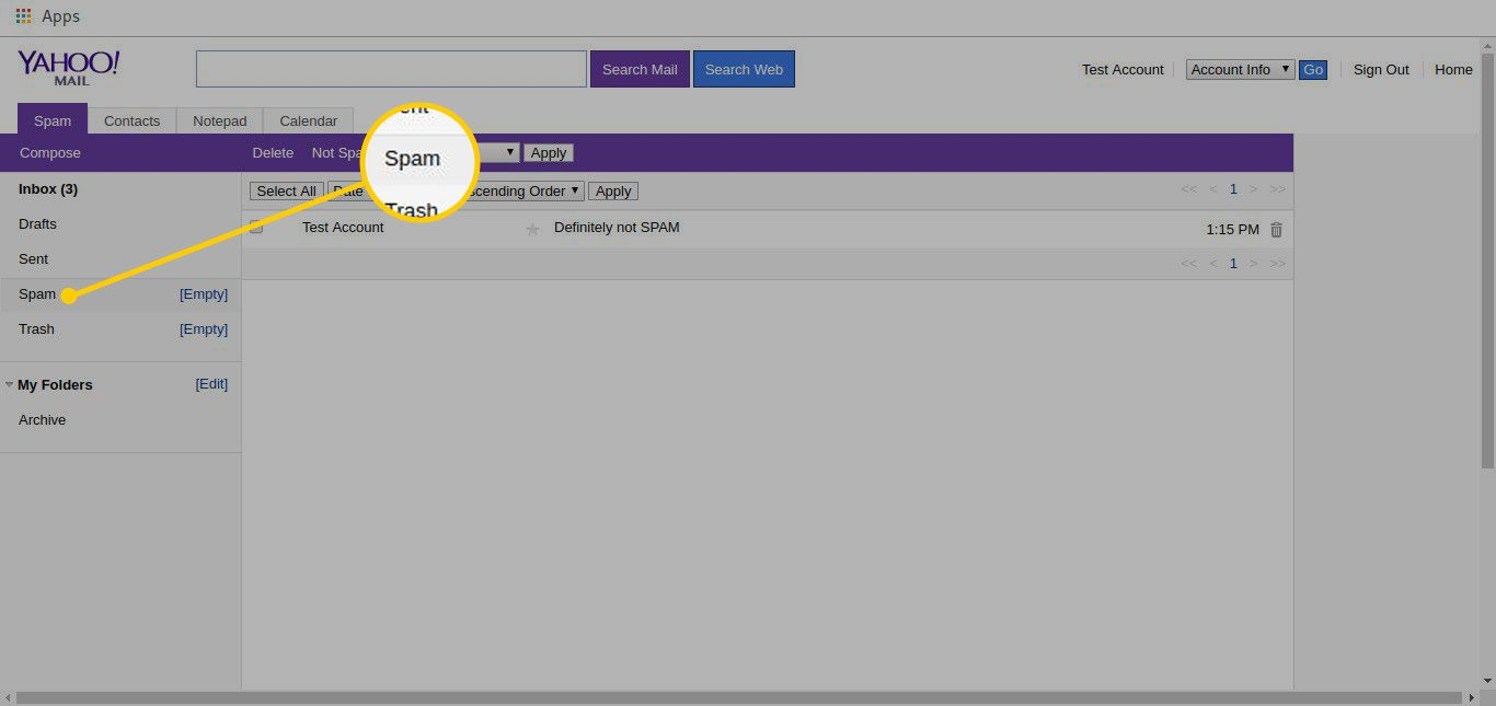 spam messages in Yahoo Account