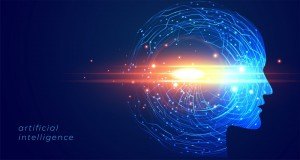 futuristic artificial intelligence face technology background