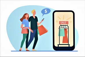 Couple shopping online. Sale in fashion store, ad on cellphone screen flat vector illustration. Black Friday, discount season ,e-commerce concept for banner, website design or landing web page