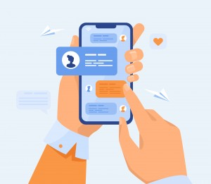 Human hand holding mobile phone with text messages. Person touching screen with chat conversation flat vector illustration. Phone communication concept for banner, website design or landing web page