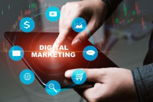 Digital marketing online technology concept.