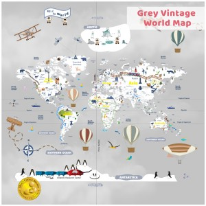 Grey-Vintage-World Map-Wallpaper