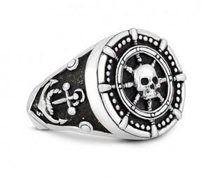 Sterling Silver Ship Wheel Anchor Skull Head Ring