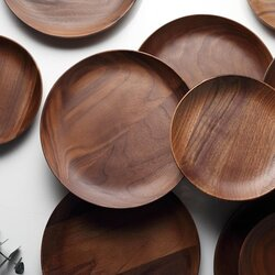 Luxe Teakwood Plate Collection - dining ware set