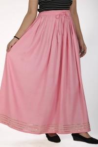 Javta Long Plain Skirt - Baby Pink