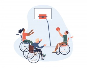 Joyful disabled people in wheelchair playing basketball. Concept of adaptive sports for disabled people. Isolated vector illustration in cartoon style